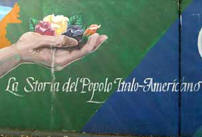 From mural painted on wall on Mayfield in Cleveland's Little Italy