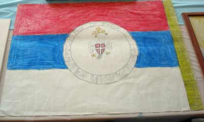 Serbian flag drawn by children