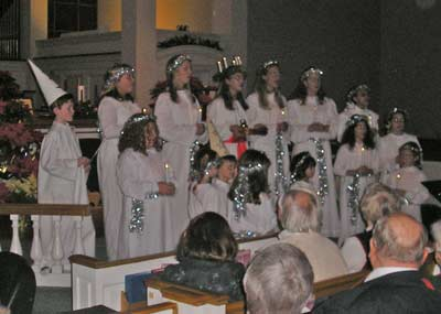 Swedish-American children singing Santa Lucia
