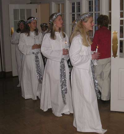 Swedish girls in Santa Lucia Celebration