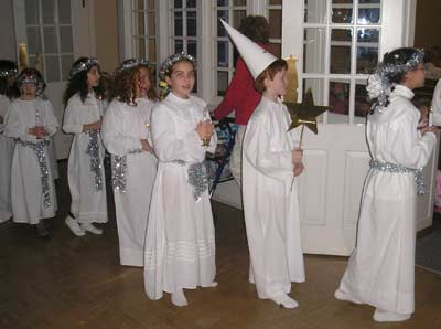 Young Swedish boys and girls in the Santa Lucia procession