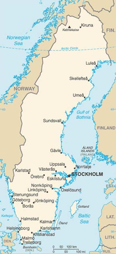 Map of Sweden and cities