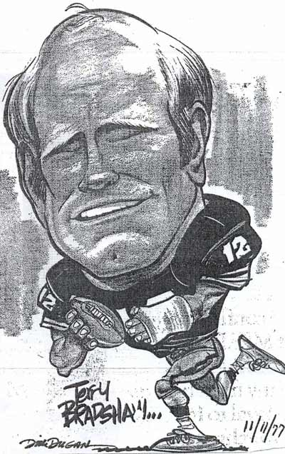 Dick Dugan draws Terry Bradshaw of Pittsburgh Steelers