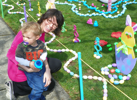 Mother and son at Jellybeanville in Euclid Ohio