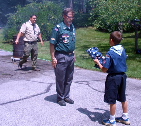 Scouts saluting to retire US flag on Flag Day Cleveland 2009