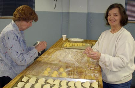 Doris Brozek and Fran Adams make pirohi