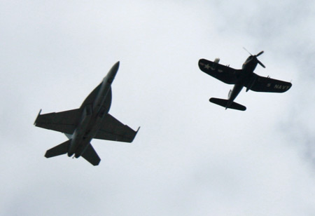 Navy Legacy Flight - F/A-18F and F4U-5 Corsair