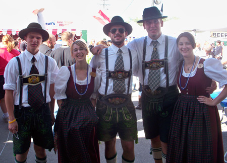 Teens in German costumes at Cleveland Oktoberfest