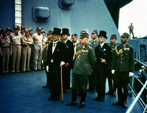 Surrender of Japan, Tokyo Bay, 2 September 1945: Japanese representatives on board USS Missouri (BB-63) during the surrender ceremonies.