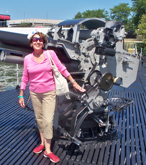 Sheila Rosenberg on the deck of the USS Cod