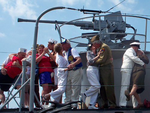 V-J Day kisses on the deck of the USS Cod