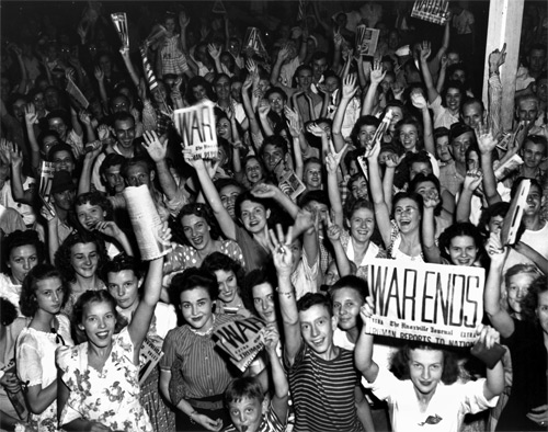 In a photo by Ed Westcott, residents of Oak Ridge, TN, fill Jackson Square to celebrate the surrender of Japan.