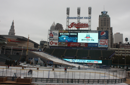 Frozen Diamond hockey rink at Cleveland Indians Snow Days