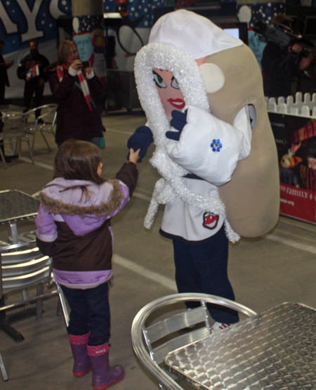Cleveland Indians Snow Days play area - little girl and Onion mascot