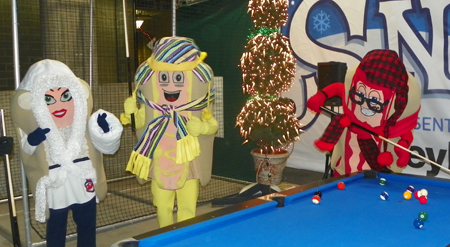 Indians Mascots Mustard, Ketchup and Onion play pool