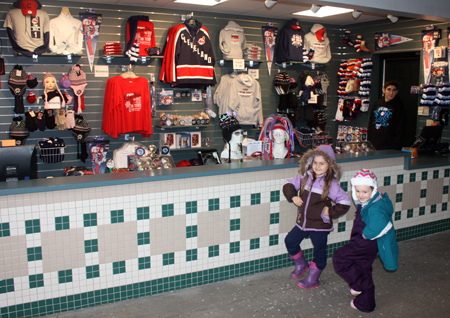 Girls at Special Winter shopping stand at Indians Snow Days