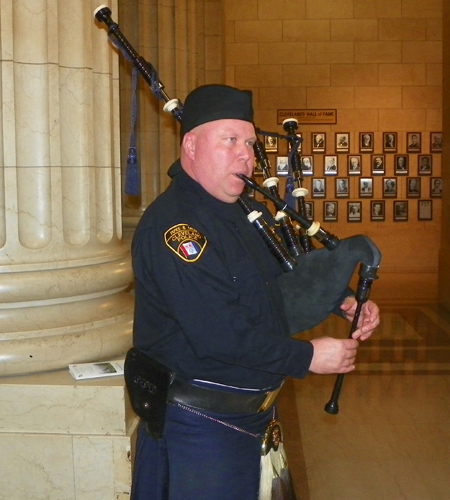 Bagpiper from Cleveland Department of Public Safety