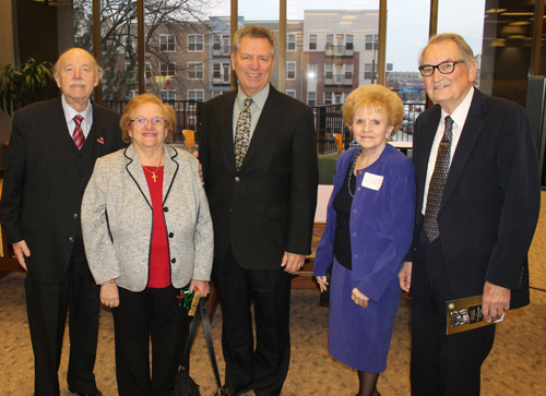 Cleveland International Hall of Fame members at the event - August Pust, Mary Rose Oakar, Rocky perk (for his father Ralph), Irene Morrow and Vlad Rus