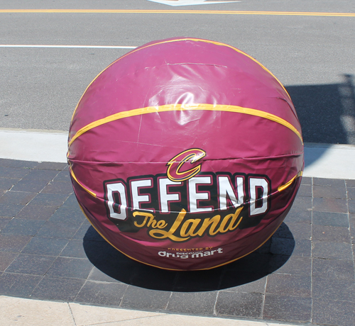 Basketballs in front of Quicken Loans Arena - Defend the Land