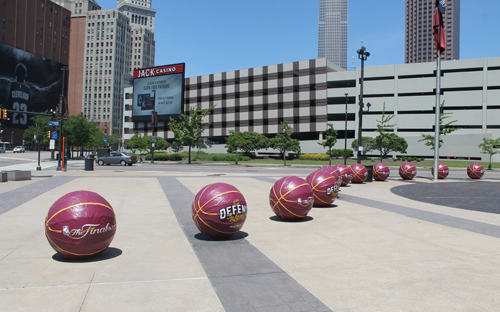 Basketballs in front of Quicken Loans Arena