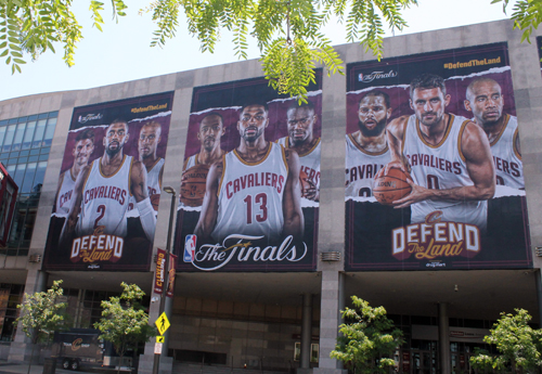 Cleveland Cavaliers in the 2017 NBA Finals murals at Quicken Loans Arena