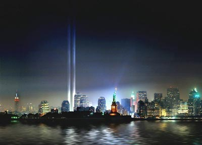 New York twin towers of light