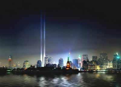 World Trade Center in lights in New York after September 11, 2001