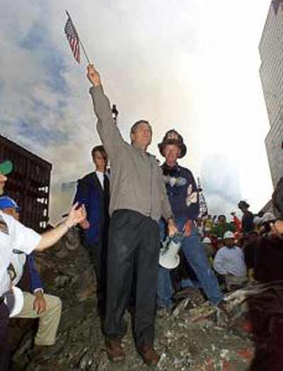 President George W. Bush at Ground Zero after World Trade Center attack