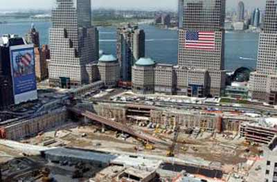World Trade Center in New York after September 11, 2001