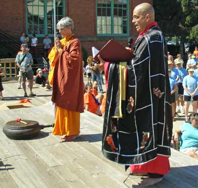 Buddhist Monks blessing the dragon boats