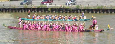 Dragon Dream team about to win another dragon boat race