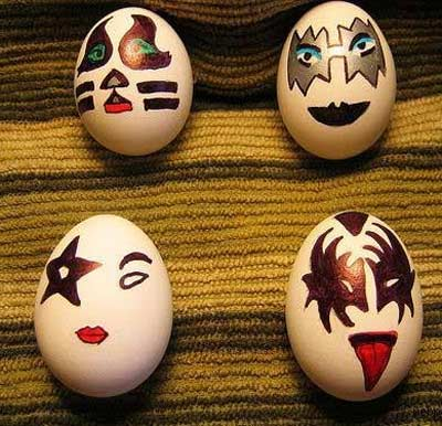Easter Egss painted like KISS