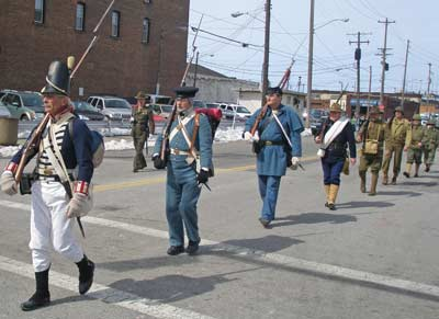 Historic US military uniforms in the Saint Patrick's day Parade in Cleveland