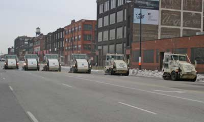 Street cleaners lined up after parade