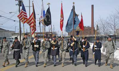 Historic US military uniforms in the Saint Patricks day Parade in Cleveland