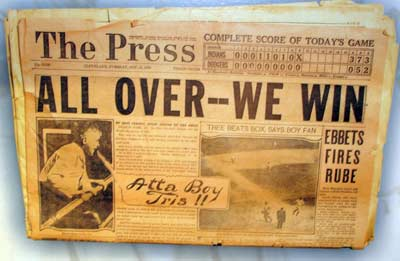 1920 Cleveland Indians World Series championship headline