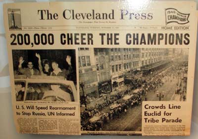 1948 Cleveland Indians World Series championship headline