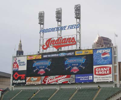 The new Progressive Field scoreboard