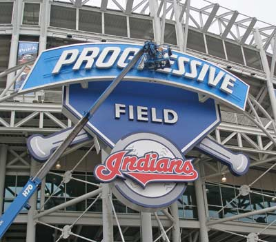 Cleveland Indians Progressive Field Sign - Ontario and Carnegie