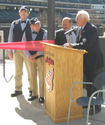 Bob Feller speaking at the opening of Heritage Park
