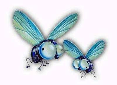 2 funny looking house flies