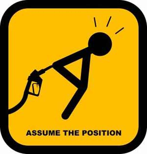 Gas Pump assume the position