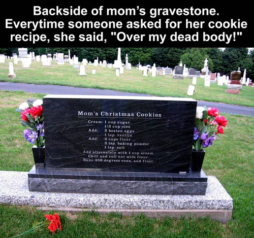 Mom's cookie recipe on grave