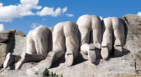 Funny picture of the rear view of Mount Rushmore