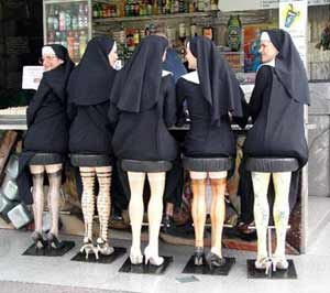 Nuns on bar stools that look like legs
