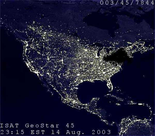 Blackout Map of the US at night