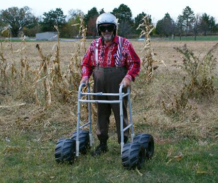 Senior with 4-wheeler walker