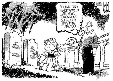 Memorial Day cemetery cartoon