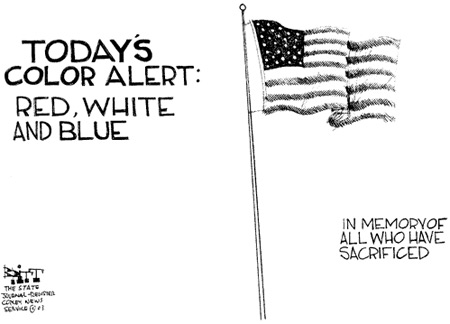 Memorial Day flag cartoon