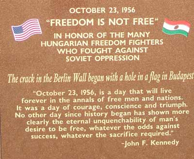Freedom Fighter of the 1956 Hungarian Revolution Statue Inscription